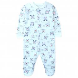 Человечек с начесом детский, комбинезон, белый. Синие зверушки с сердечком.