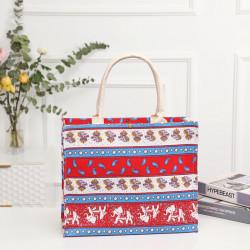 Сумка-шоппер, шоппер, сумка, экосумка, красная. Индийские мотивы.