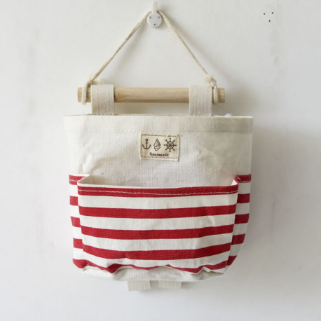 Подвесной органайзер с карманом, молочный. Красный полосатик. ( 1 карман )