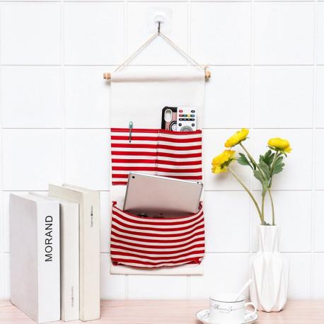 Подвесной органайзер с карманом, белый. Красный полосатик. ( 3 карман )