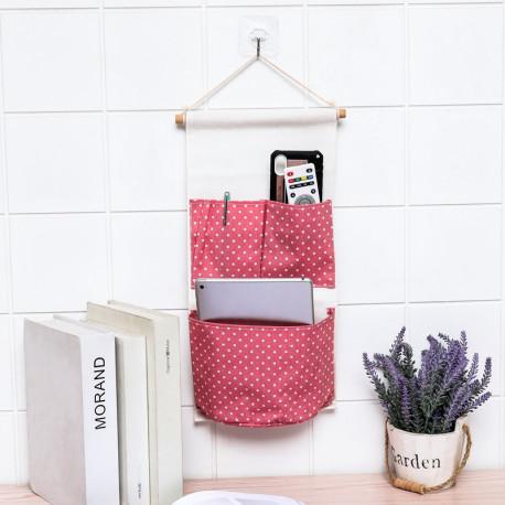 Подвесной органайзер с карманом, розовый. Горошек. ( 3 карман )