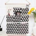 Подвесной органайзер с карманами, белый. Черные треугольники. (7 карманов)