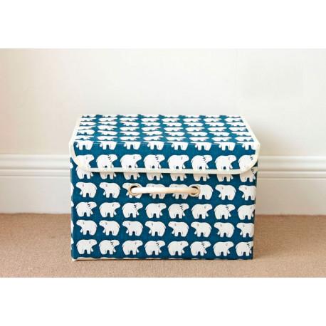 Ящик складной с крышкой, прямоугольный, синий. Белые мишки. Small.