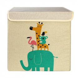 Ящик складной с крышкой, квадратный, бежевый. Экзотические животные.