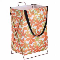 Корзина для белья, игрушек, белая. Оранжевые цветы.