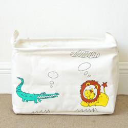 Корзина для игрушек, прямоугольная, на завязках, белая. Лев и крокодил.