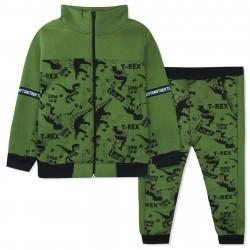 Утепленный костюм 2 в 1 для мальчика, зеленый. Опасные динозавры.