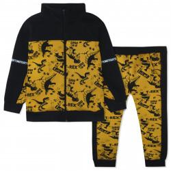 Утепленный костюм 2 в 1 для мальчика, желтый с черным. Опасные динозавры.