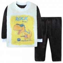 Пижама махровая для мальчика, коричневая. Дино рок-звезда.