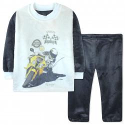 Пижама махровая для мальчика, серая. Мотоциклист.