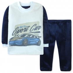 Пижама махровая для мальчика, синяя. Спортивная машина.