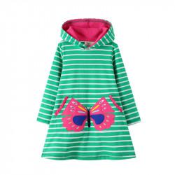 Платье для девочки, зеленое. Розовая бабочка.