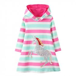 Платье для девочки, мятно-розовое. Блестящий единорог.