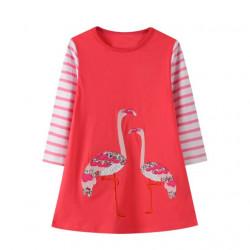 Платье для девочки, коралловое. Два розовых фламинго.