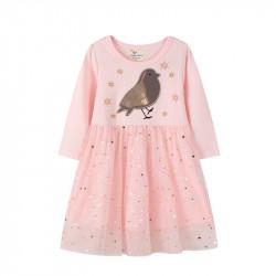 Платье для девочки, розовое. Мерцающая птичка.