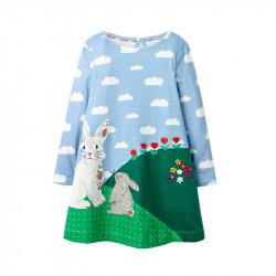 Платье для девочки, голубое. Семья зайчиков.