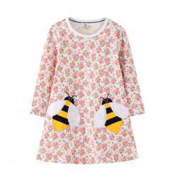 Платье для девочки, белое. Две пчёлки.
