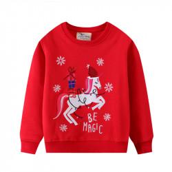 Кофта для девочки, свитшот, красная. Рождественский единорог.