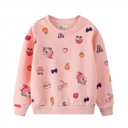Кофта для девочки, свитшот, розовая. Единорог и рисунки.