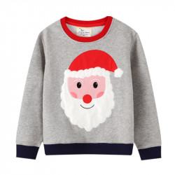 Кофта детская, свитшот, серая. Веселый Санта.