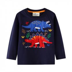 Кофта для мальчика, реглан, темно-синяя. Стегозавр и трицератопс.