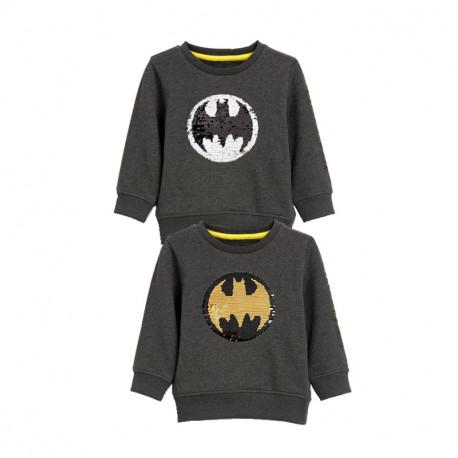 Кофта детская, свитшот, асфальтная. Блестящий бэтмен.