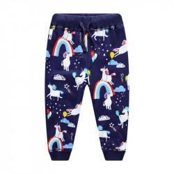 Штаны для девочки, темно-синие. Веселые единороги и радуги.