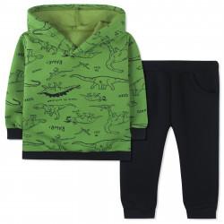 Утепленный костюм для мальчика, зеленый. Прогулка динозавров.