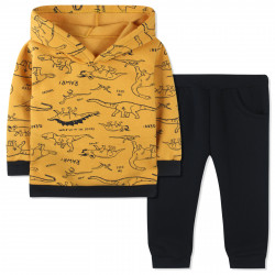 Утепленный костюм для мальчика, желтый. Прогулка динозавров.