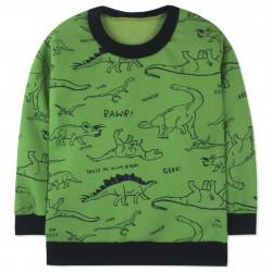 Утепленная кофта для мальчика, толстовка, зеленая. Прогулка динозавров.