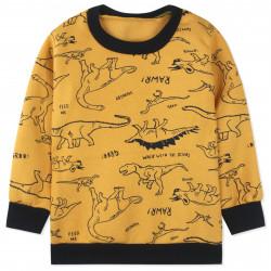 Утепленная кофта для мальчика, толстовка, желтая. Прогулка динозавров.
