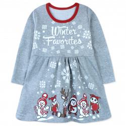 Платье для девочки, серое. Снеговики.