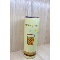 Термокружка с трубочкой, термочашка, бежевая. Pearl tea. 500 мл.