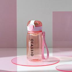 Бутылка с ситечком пластиковая, розовая. Classical. 400 мл.