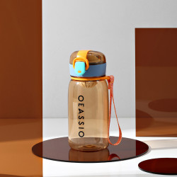Бутылка с ситечком пластиковая, оранжевая. Classical. 400 мл.