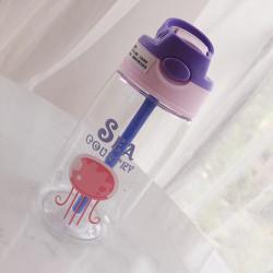 Бутылка детская пластиковая, поильник, фиолетовая. Медуза. 480 мл.