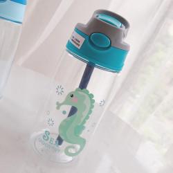 Бутылка детская пластиковая, поильник, бирюзовая. Морской конек. 480 мл.