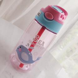 Бутылка детская пластиковая, поильник, розовая. Кит. 480 мл.
