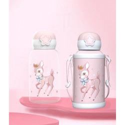 Бутылка с чехлом пластиковая, поильник, розовая. Олененок. 480 мл.