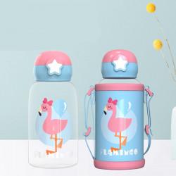 Бутылка с чехлом пластиковая, поильник, голубая. Фламинго. 480 мл.