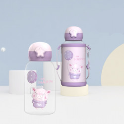 Бутылка с чехлом пластиковая, поильник, фиолетовая. Хрюшка. 480 мл.