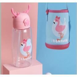 Бутылка с чехлом пластиковая, поильник, розовая. Фламинго с шариком. 480 мл.