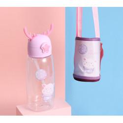 Бутылка с чехлом пластиковая, поильник, лиловая. Хрюша с шариком. 480 мл.