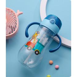 Бутылка с ручками пластиковая, поильник, синяя. Жираф в грузовике. 550 мл.
