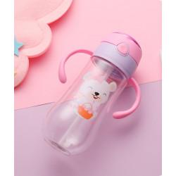 Бутылка с ручками пластиковая, поильник, розовая. Мишка и цветы. 550 мл.
