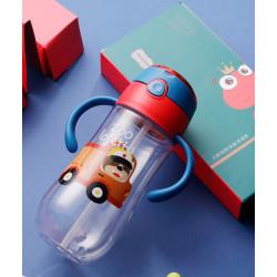 Бутылка с ручками пластиковая, поильник, синяя. Мишка в грузовике. 550 мл.