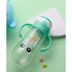 Бутылка с ручками пластиковая, поильник, зеленая. Жираф в машине. 550 мл.