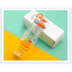 Бутылка с блоком пластиковая, оранжевая. Enjoy summer. 500 мл.
