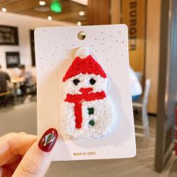 Заколка для волос, белая. Махровый снеговик.