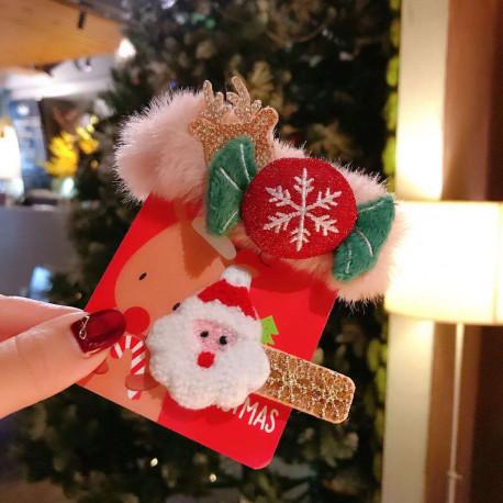 Резинка и заколка, розовая. Конфета и Дед Мороз. 2 шт.